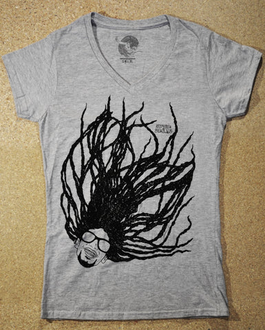 Super Dread Natty Dreadlocks Ladies T-Shirt - Grey