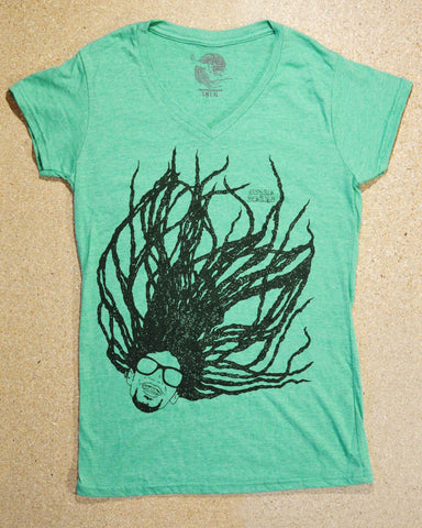 Super Dread Natty Dreadlocks Ladies T-Shirt - Green