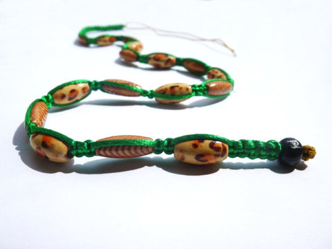 Long Green Tie-in Dread Jewel with leopard print beads