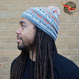 Grey Bobble Knitted Dreadlock Hat