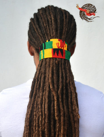 Rasta Coloured Long Dreadlocks Hair Tie