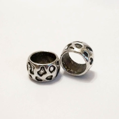 Big Leopard Print Textured Silver Dreadlock Bead