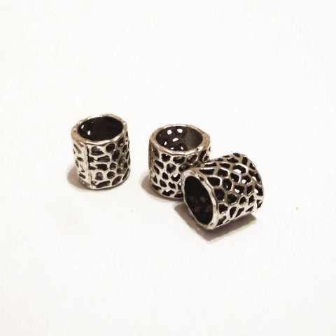 Silver Hole Pattern Dreadlock Bead