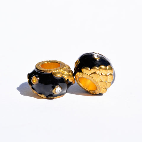 Black and Gold Textured Dreadlock Bead