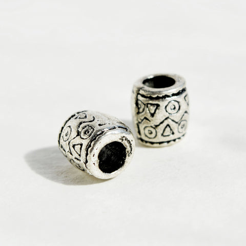 Silver Dreadlock Bead with Geometric Shape Pattern