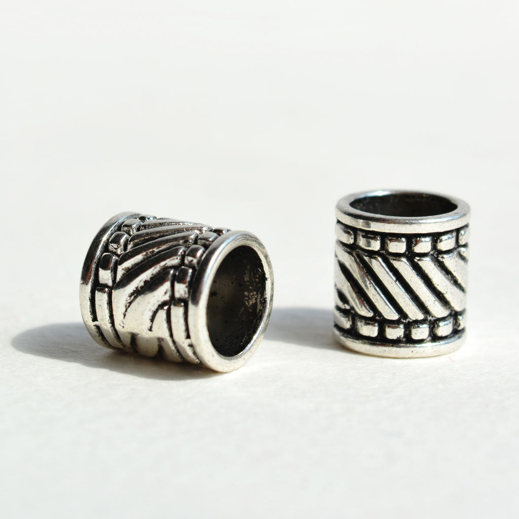 Silver Stripe Textured Bead
