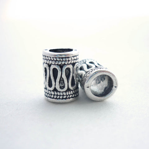 Silver Decorated Tube Dreadlock Bead