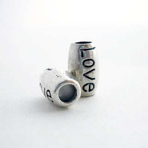 Silver Love Barrel Dreadlock Bead