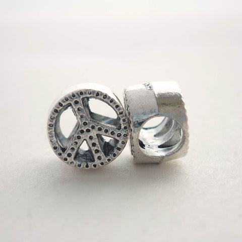 Silver Peace Dreadlock Bead
