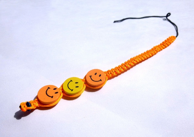 Orange Smiley Face Tie-in Dread Jewel
