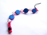 Pink and Blue Smiley Face Tie-in Dread Jewel