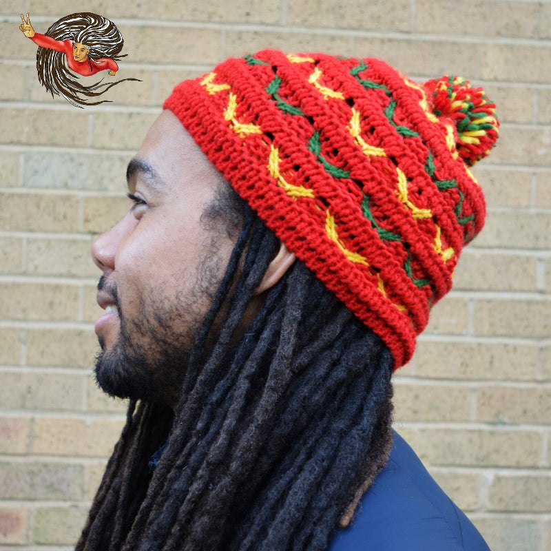 Rasta Bobble Knitted Dreadlock Hat