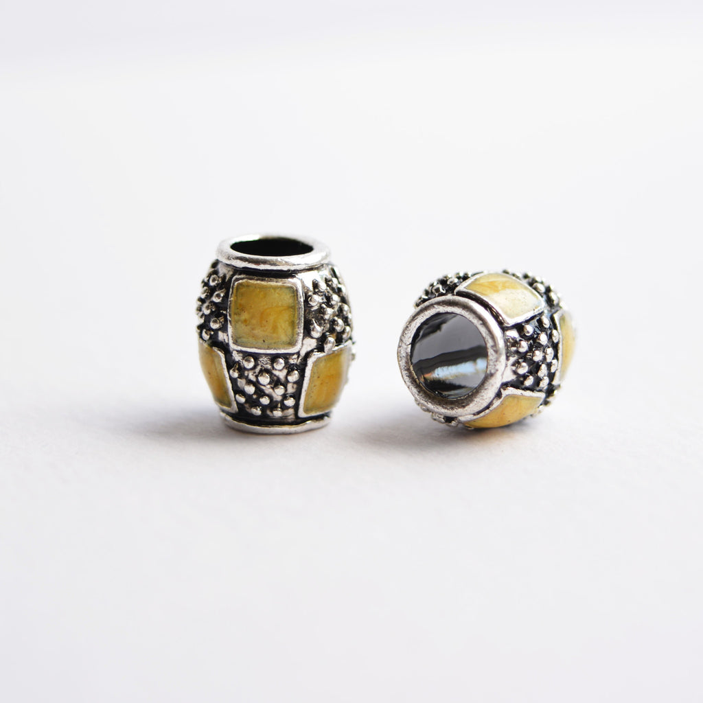 Yellow and Silver Textured Dreadlock Bead