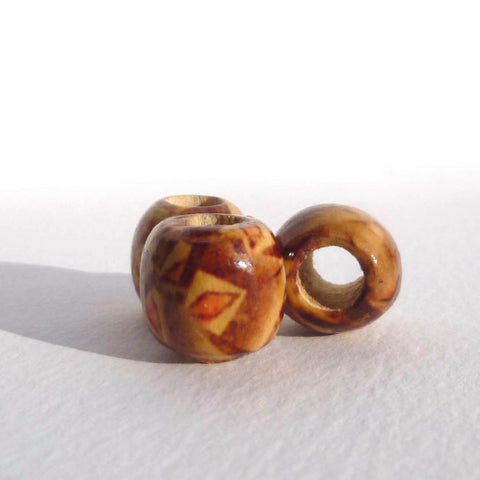 Geometric Pattern Wooden Dreadlock Bead