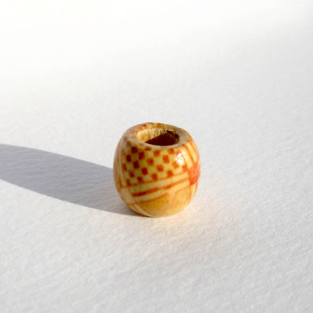 Checker Pattern Wooden Dreadlock Bead