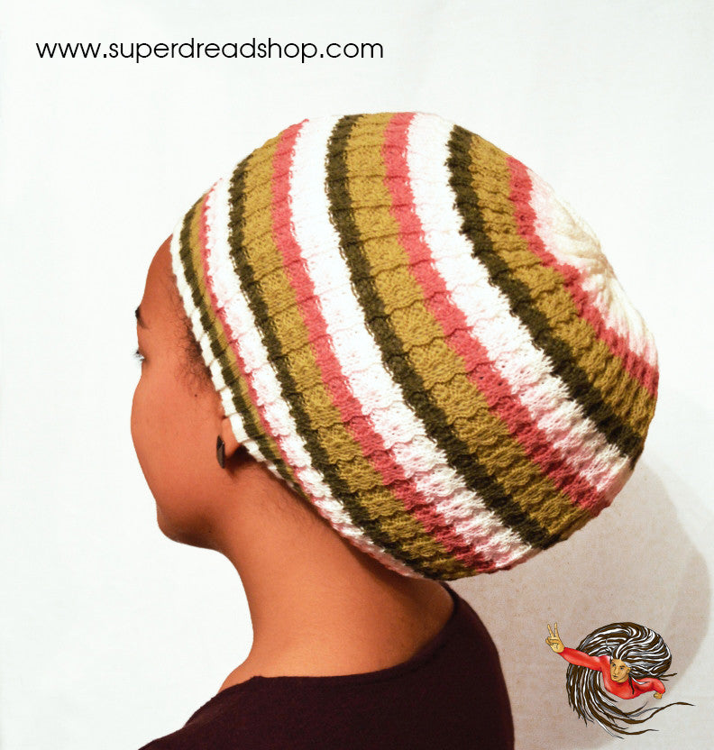 Reversible White Green and Pink Dreadlock Knitted Hat