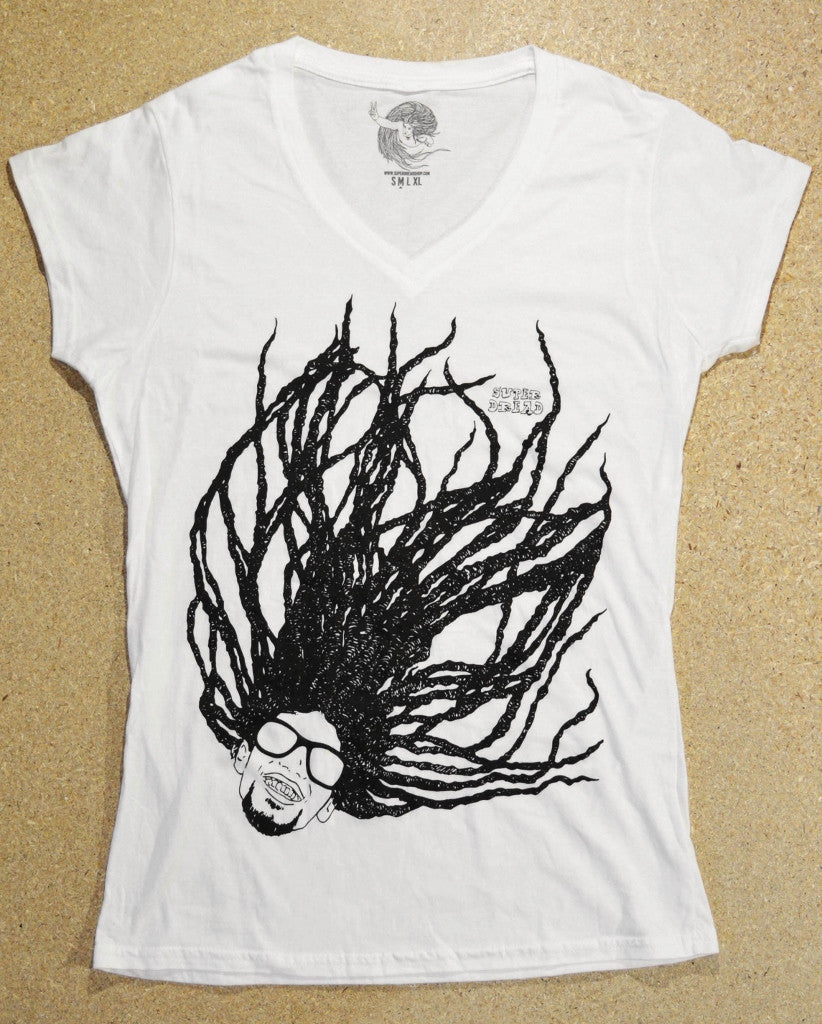 Super Dread Natty Dreadlocks Ladies T-Shirt - White