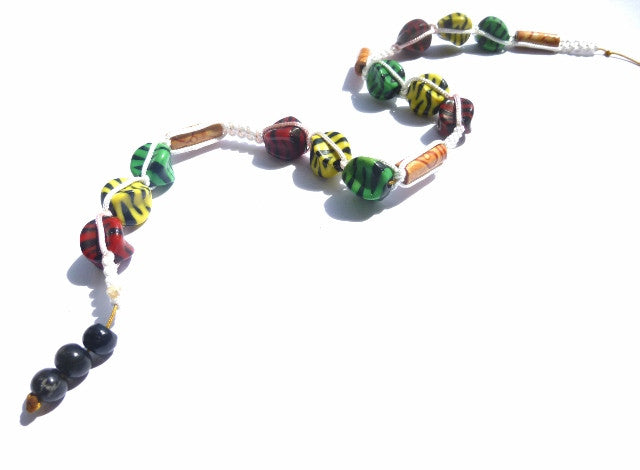 Long White, Red, Yellow and Green Tie-in Dread Jewel