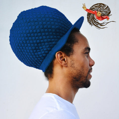 Super Dread Large Blue Dreadlocks Peaked Tam Rasta Cap