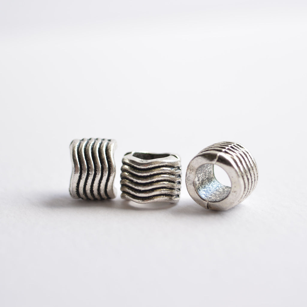 Silver Wave Dreadlock Bead Dread Bead