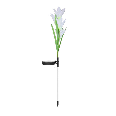 Outdoor Solar Garden Stake Lights 3 Pack With 12 Lily Flowers,Solar Flower Lights