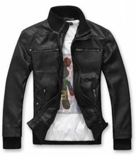 Load image into Gallery viewer, Mens Hooded Vegan Leather Biker Jacket