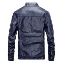 Load image into Gallery viewer, Mens Stand Collar Vegan Leather Pilot Jacket
