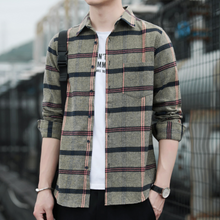 Load image into Gallery viewer, Mens Casual Long Sleeve Plaid Shirt