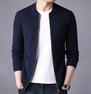 Mens Round Collar Slim Fit Cardigan