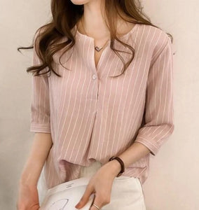 Womens Stripe Quarter Sleeve Shirt