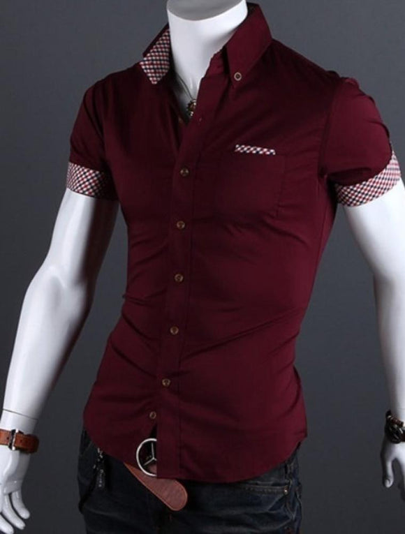 Mens Slim Fit Summer Short Sleeve Button Front Shirt
