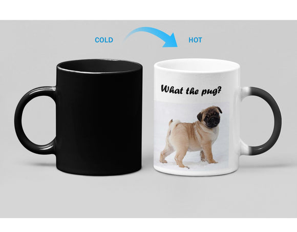 What The Pug Adorable Pug Heat Sensitive Color Changing Coffee Mug
