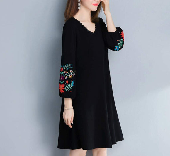 One Piece Floral Sleeve Dress