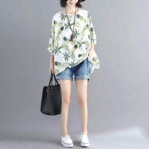 Womens Loose Fit Tropical Quarter Sleeve Blouse