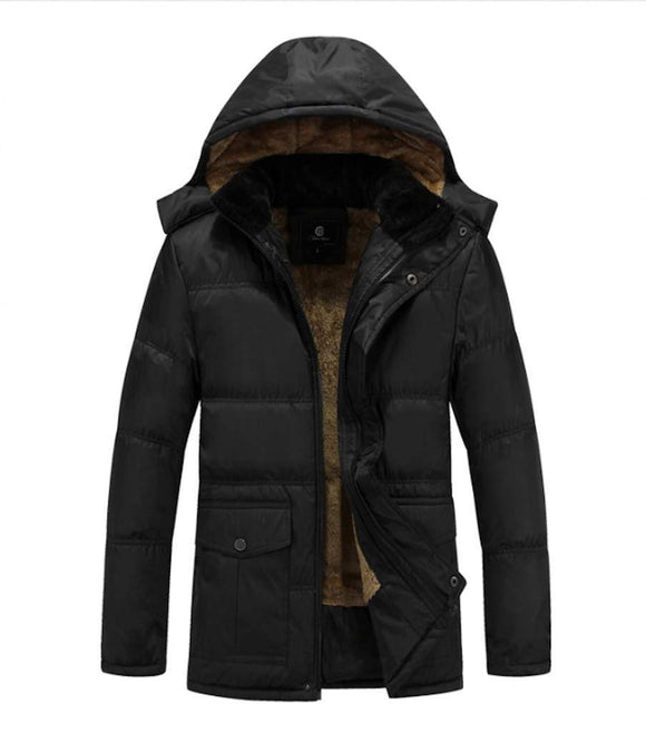 Mens Winter Inner Lining Puffer Coat with Removable Hood