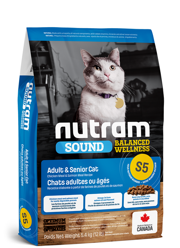 Nutram S5 Sound gatos adultos & senior 1.13 kg