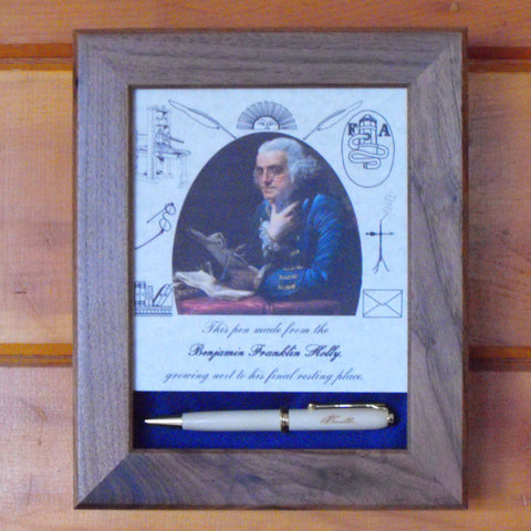 Dr. Benjamin Franklin Holly Pen in walnut display case