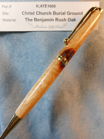 Declaration of Independence signer Dr. Benjamin Rush # K;ATE1600 from the Benjamin Rush Oak