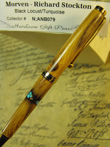 Declaration of Independence signor Richard Stockton # N;ANB079 Black Locust and Turquoise
