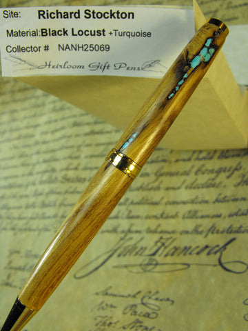 Declaration of Independence signor Richard Stockton # NANH25069 Black Locust and Turquoise
