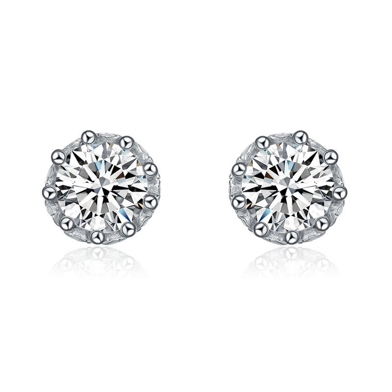 Sterling Silver Classic Cubic Zirconia Round Stud Earrings
