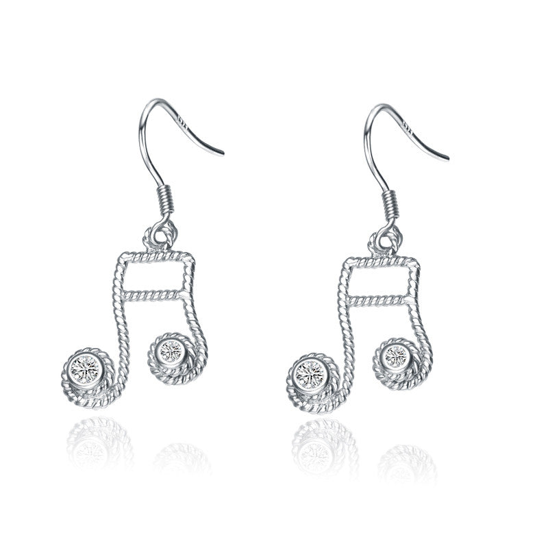 Silver Drop Music Note Cubic Zirconia Earrings