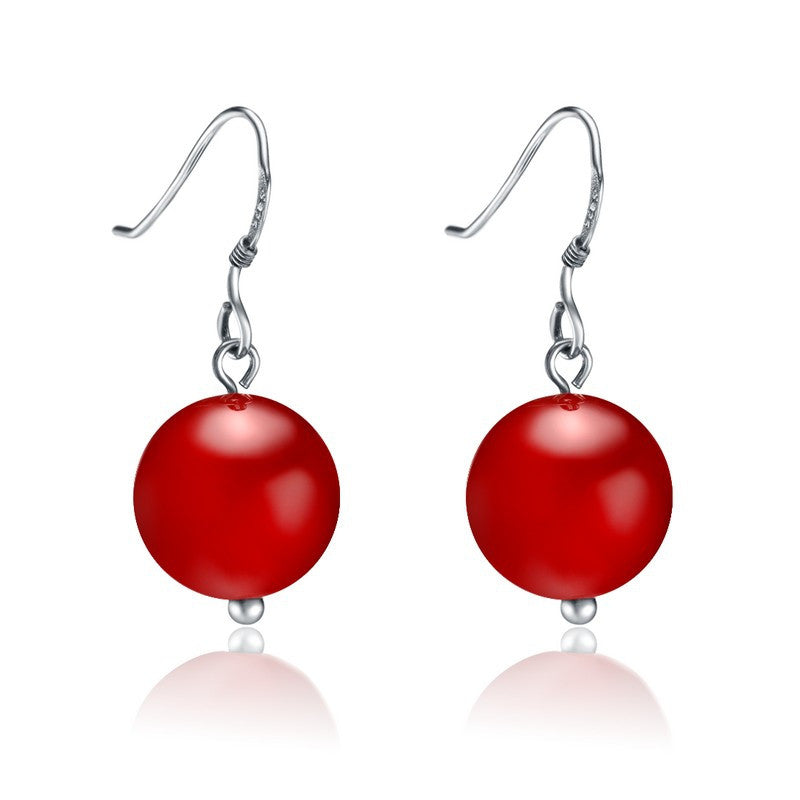 Red Agate Silver Hook Drop Earrings