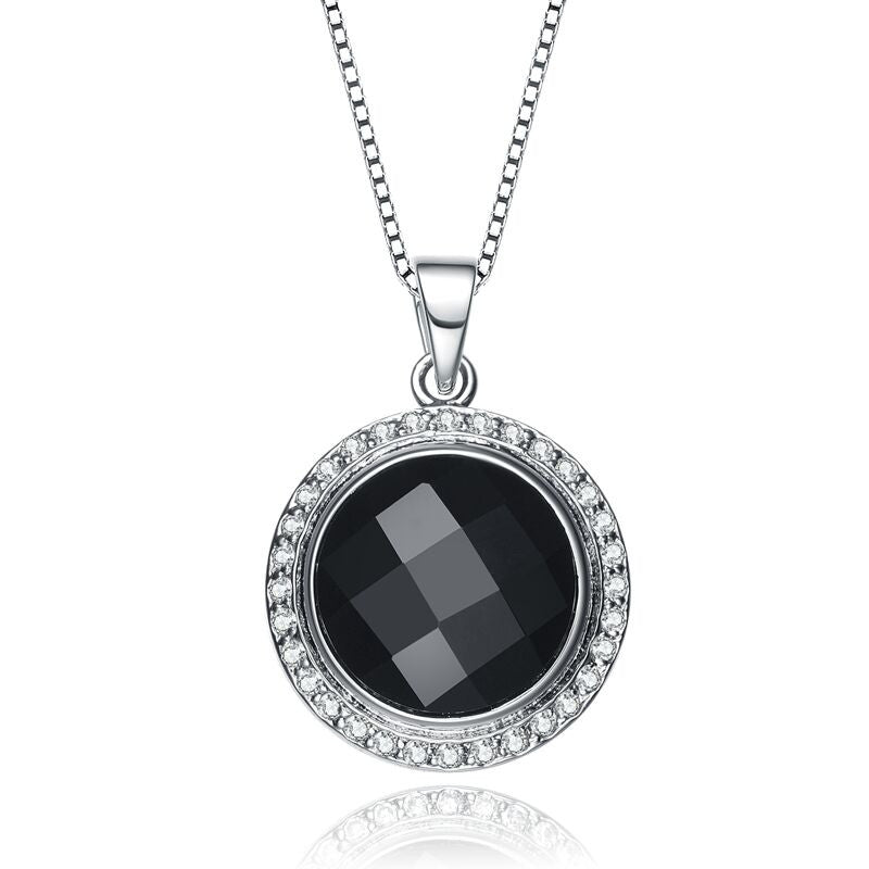 Round Black Agate Necklace