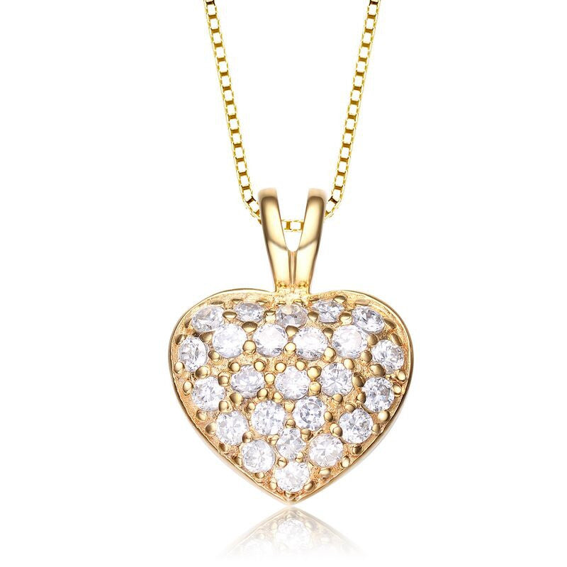 Sparkling Golden Heart Necklace