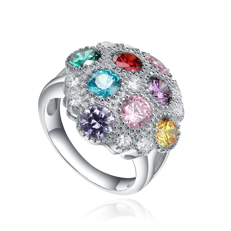 Sterling Silver Multicolour CZ Gem Ring