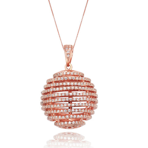 Rose Gold Crystal Swirl Ball Necklace