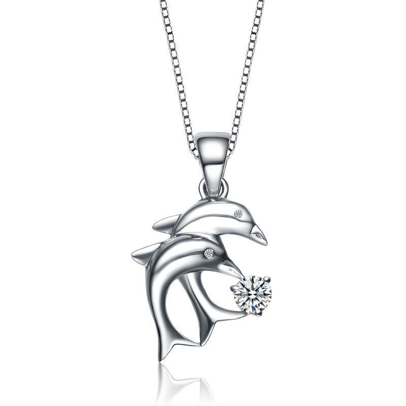 Silver Twin Dolphin Cubic Zirconia Necklace