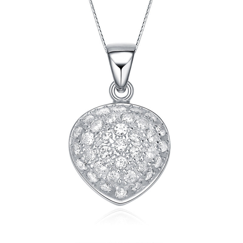 Sterling Silver Oval Heart Cubic Zirconia Necklace