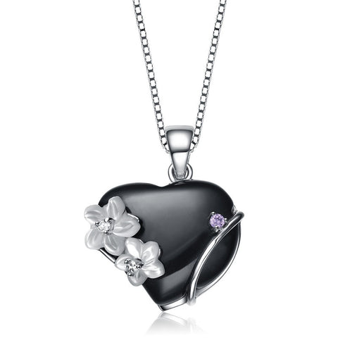 Black Floral Heart Necklace